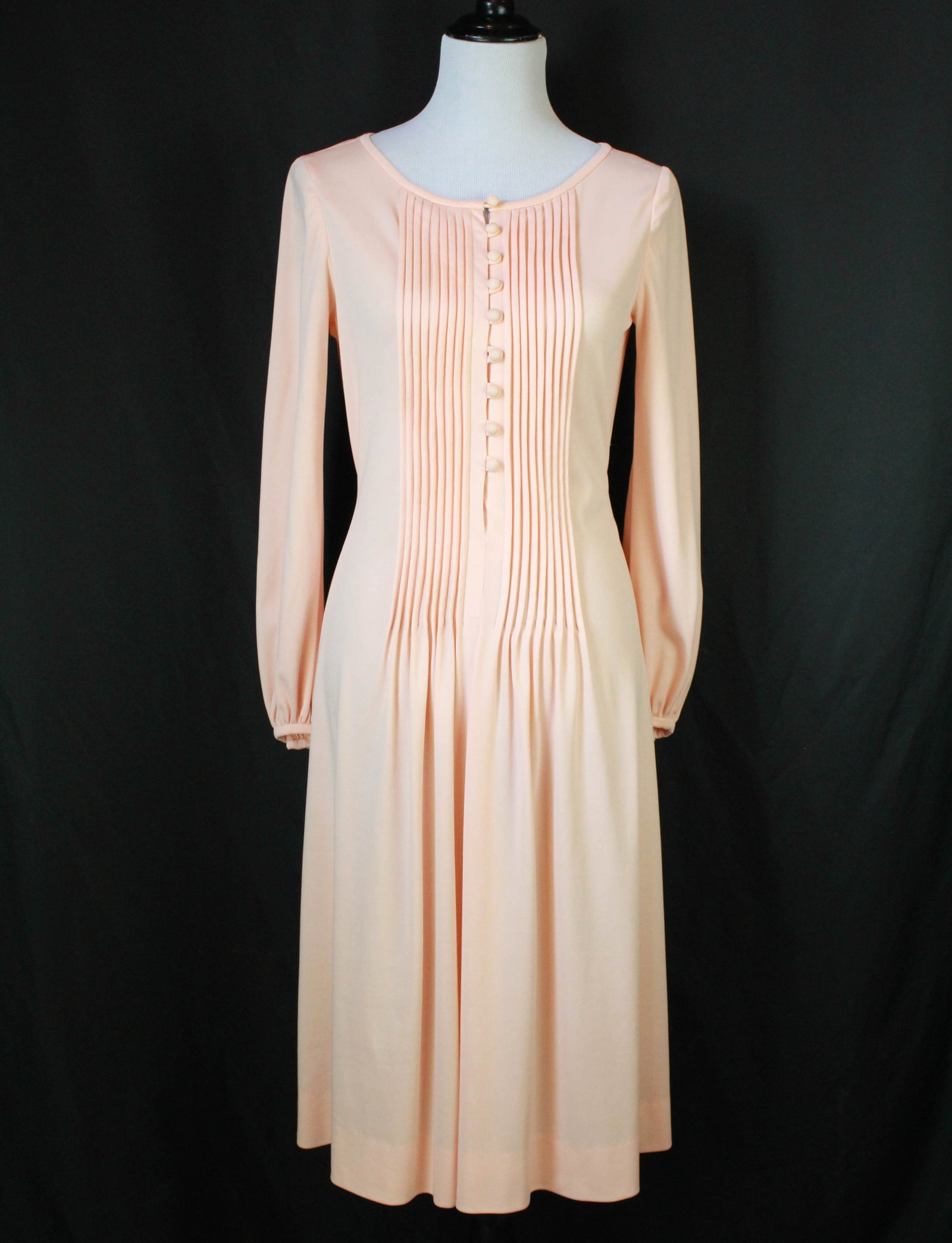 Women's Vintage 70's Pale Pink Tie Midi Dress - S/M