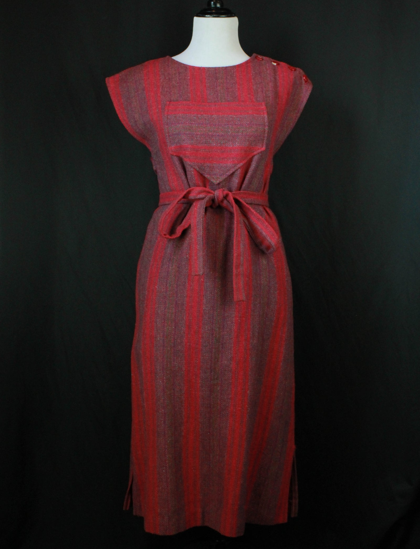 Women's Vintage 70's Striped Wool Midi Dress - S/M