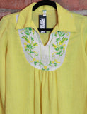 Women's Vintage 70's Yellow Embroidered Boho Blouse Size Medium
