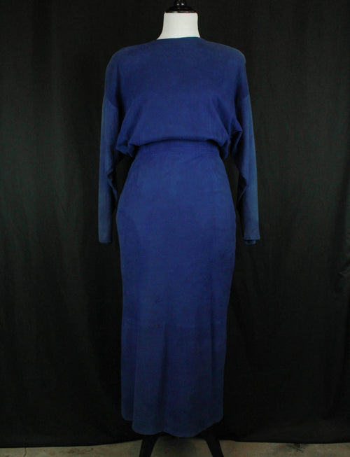 Women's Vintage 80's Blue Suede Maxi Dress - Small/26W