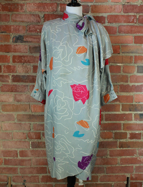 Women's Vintage 80's Grey Abstract Rose Midi Dress - S/M
