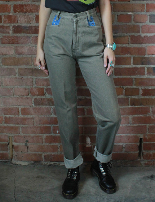 Women's Vintage 80's Deadstock Bar None Taupe/Blue High Waisted Jeans - 25W, 26W, 30W