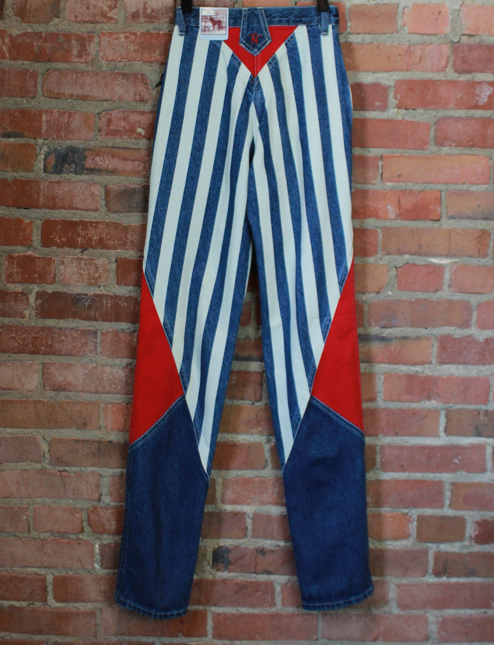 Women's Vintage Bar None Striped Denim Jeans High Waisted Deadstock Size 3