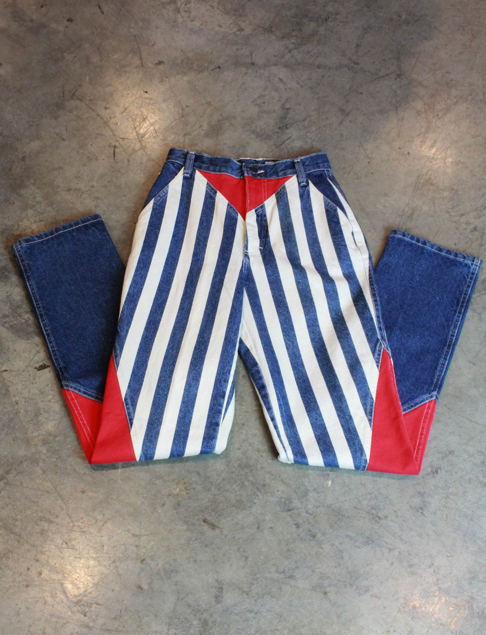 Women's Vintage Bar None Striped Denim Jeans High Waisted Deadstock Size 25W