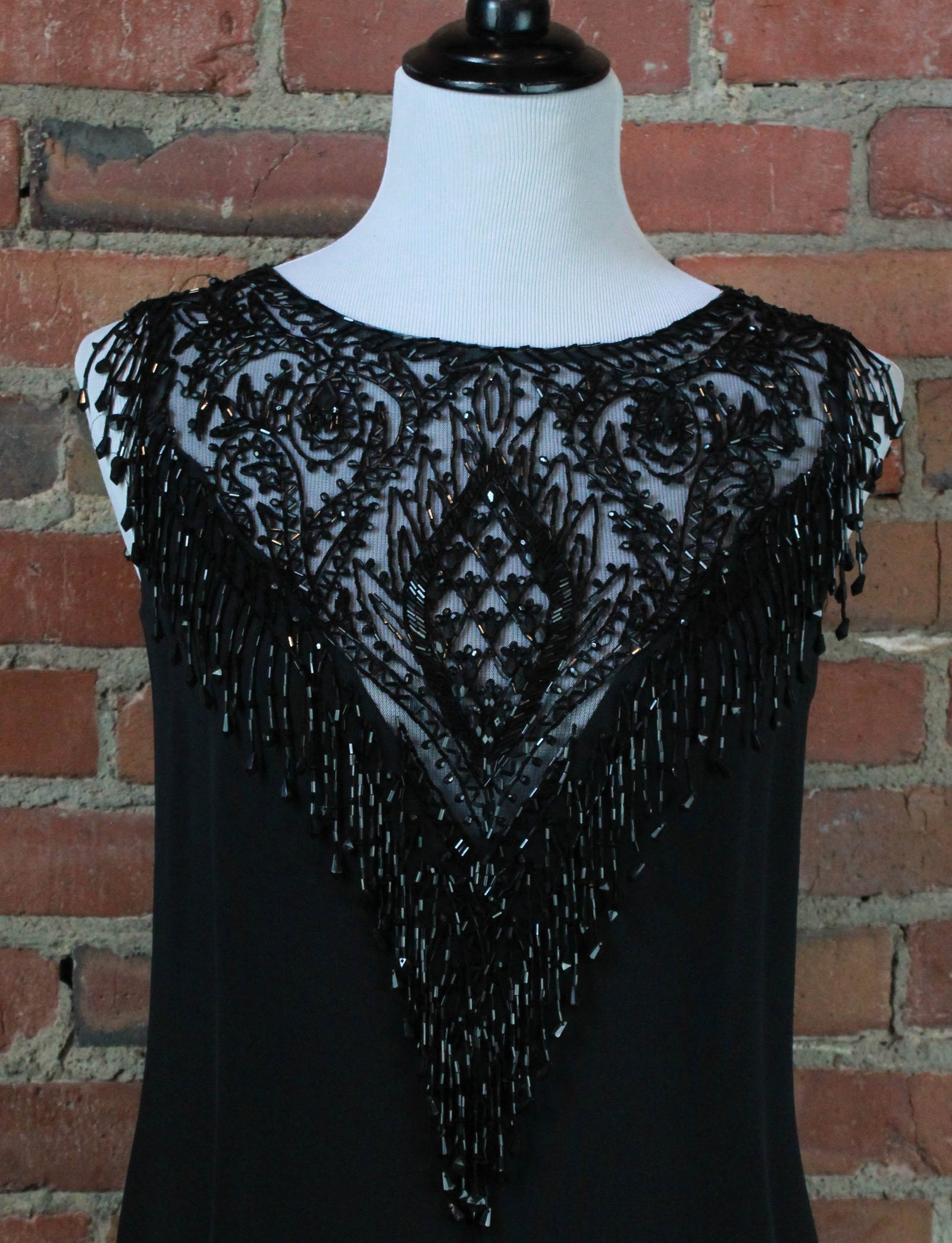 Women's Vintage Black Silk Beaded Dress - Small