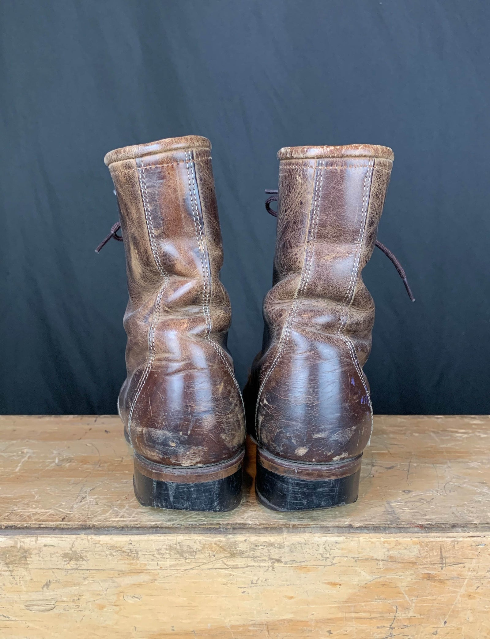 Women's Vintage Brown Leather Roper Boots - 5.5