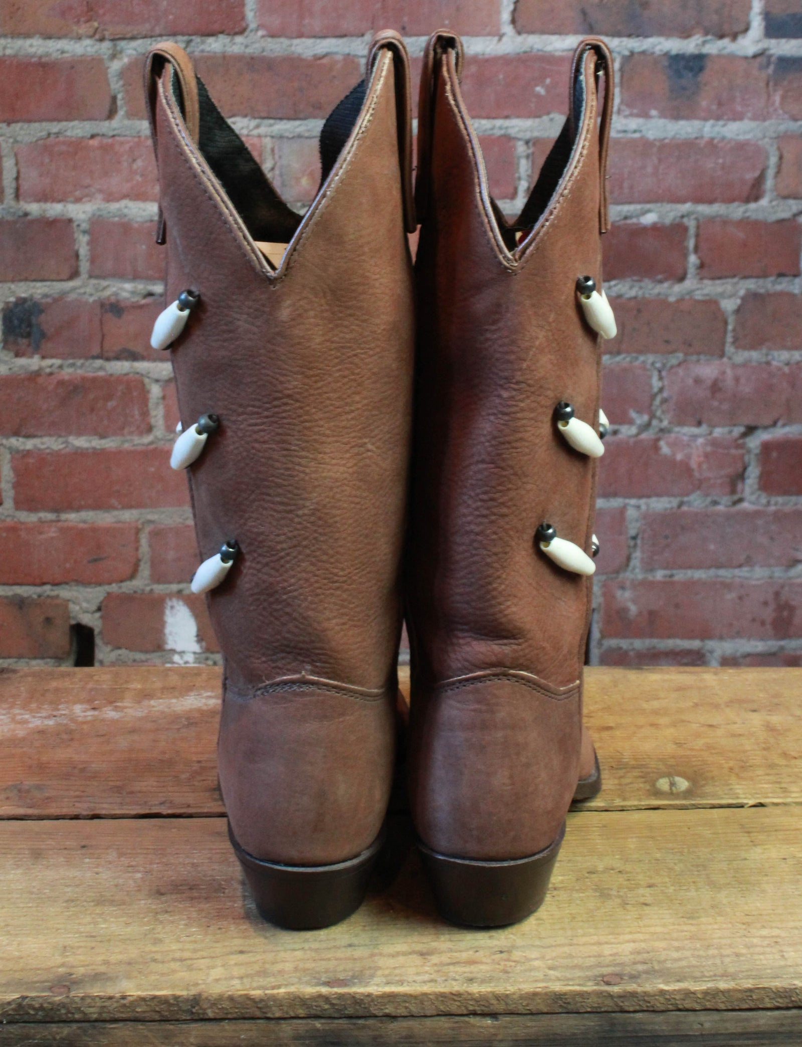 Women's Vintage Capezio Brown Leather Cowboy Boots 80's Deadstock Size 6.5