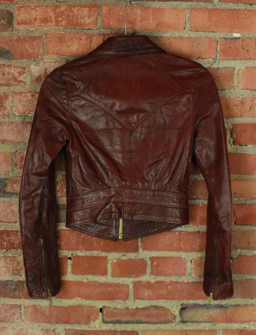 Women's Vintage Early 70's East West Musical Instruments Brown Leather Jacket - XXS