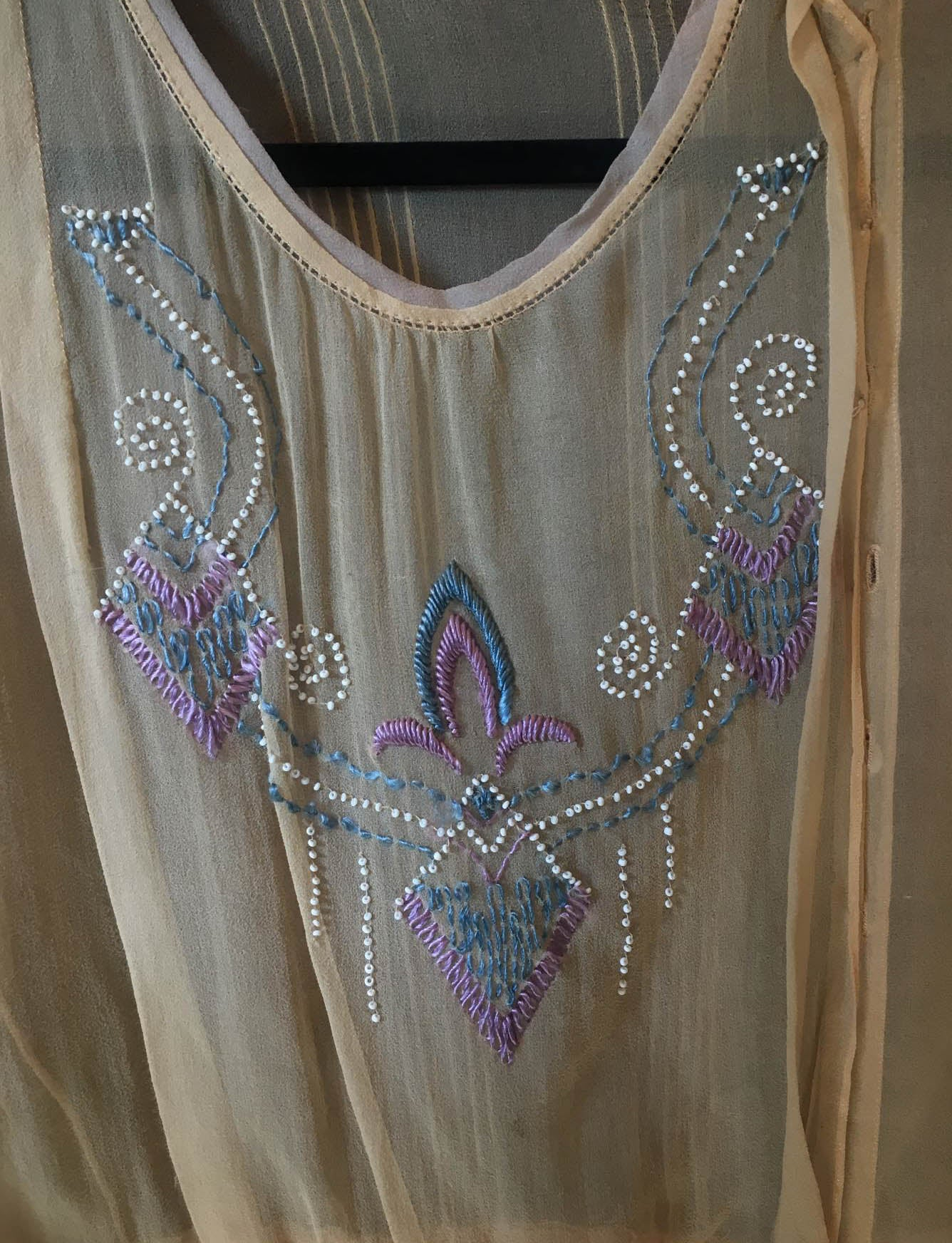 Women's Vintage Edwardian Sheer Embroidered Beaded Blouse - Small
