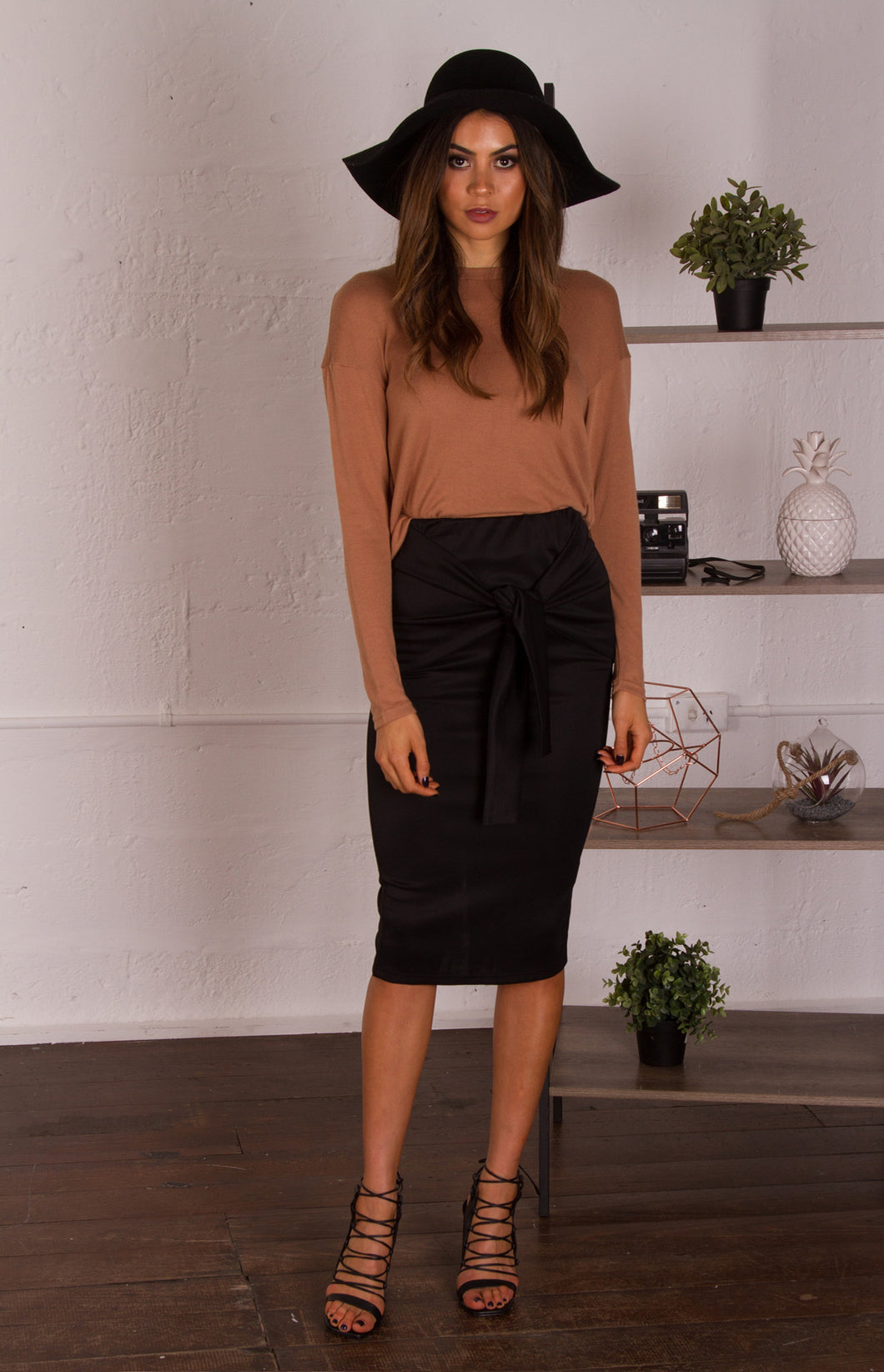 Samia Midi Length Skirt with Tie Detail