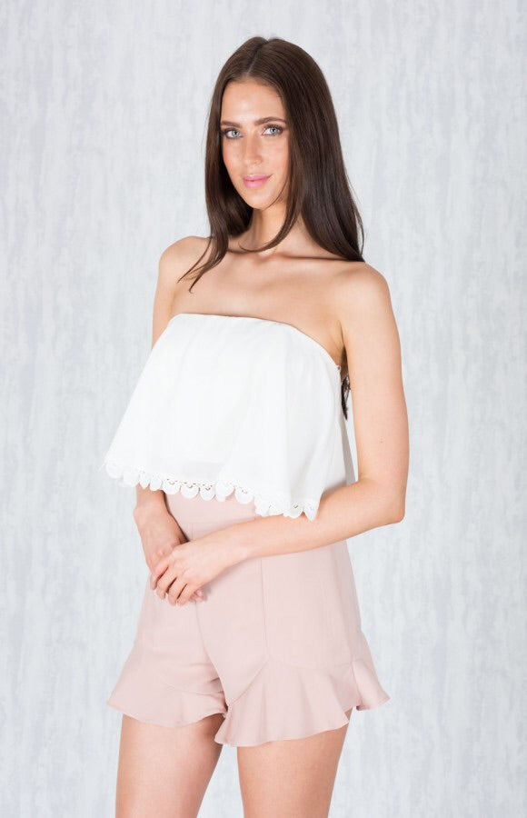 Strapless Crop Top with Lace Trim - White