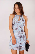 Leaf Print Dress with Waterfall Front