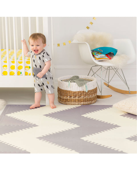 Playspot Geo Kid Foam Tiles - Grey/Cream