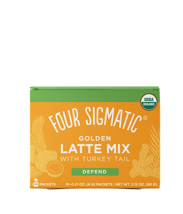 Golden Latte Mix DEFEND w/ Turkey Tail, caja 10 sobres, 60 g