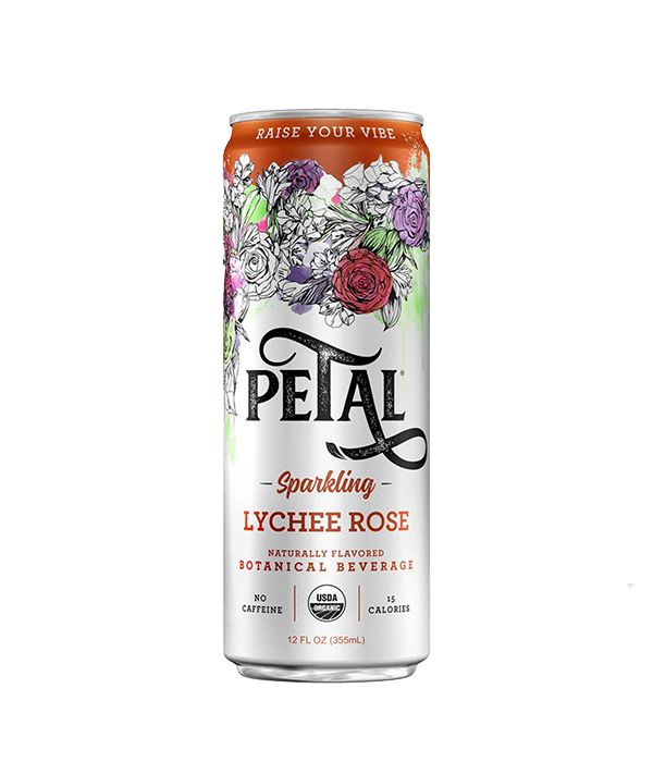 Petal, Sparkling Lychee Rose - Agua Mineral Rosa Lychee, 355 ml