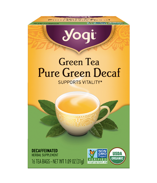 Green Tea Pure Green Decaf - Té Orgánico Verde Descafeinado, 16 sobres