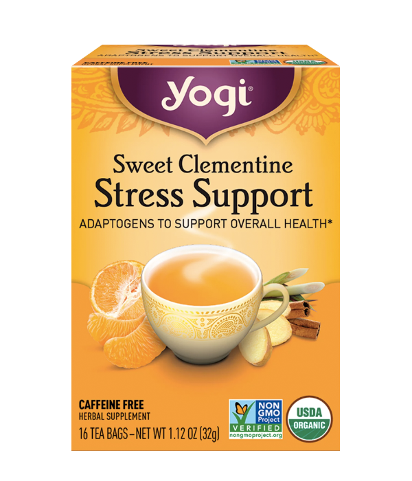 Yogi Tea, Sweet Clementine Stress Support - Infusión Herbal Adaptogena, Clementina con Rooibos y Ashwagandha