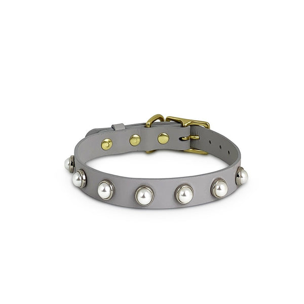 Dog leather collar - grey