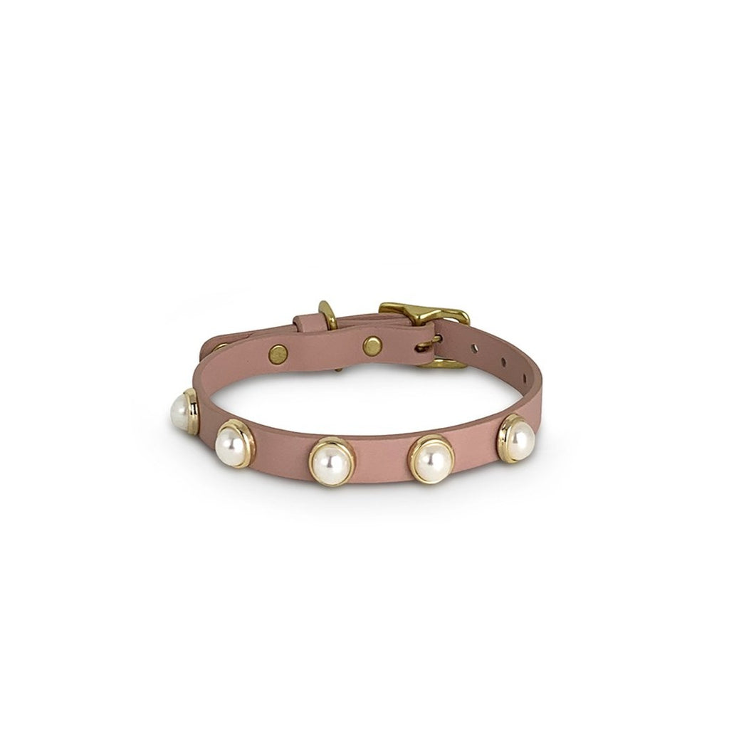 pink leather & pearl dog  collar