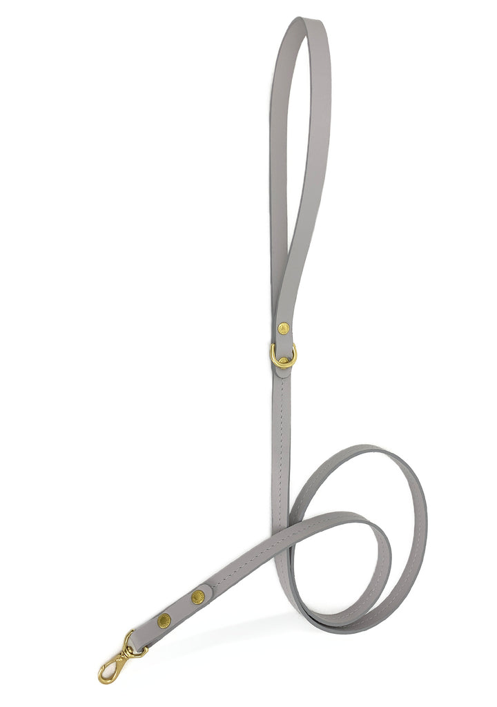gray color dog lead made from Italian leather in Los angeles