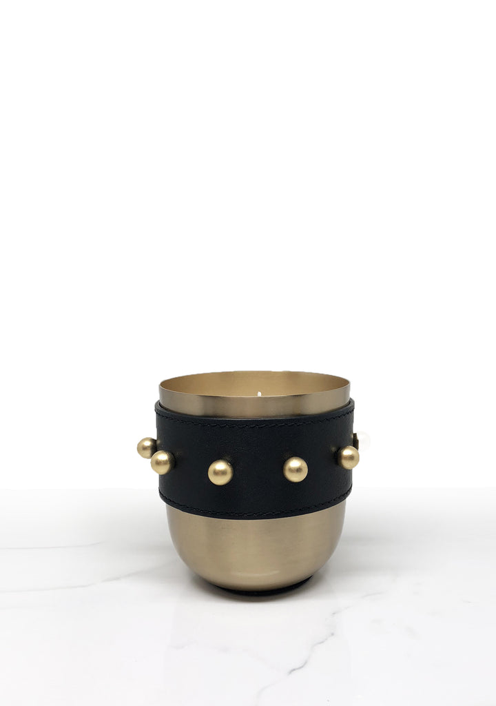 gold and leather modern decorative candle