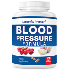 Longevity Blood Pressure Formula [150 Capsules]: Natural blood pressure supplement. Best supplement for  blood pressure with  hawthorn, kudzu, antto, garlic, rutin, sage and more.