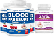 [3-Bottle Bonus Pack] Longevity Blood Pressure Formula 150 caps x 3 Bottles with 1 Free Bottle of Garlic Extract [120 softgels]