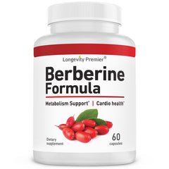 Longevity Berberine Formula 1200mg per serving. Supports healthy glucose metabolism; Premium blood sugar support supplement.