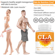 CLA - Conjugated Linoleic Acid max 3000 mg daily. Supports metabolism and weight management. Non-GMO. 60 softgels