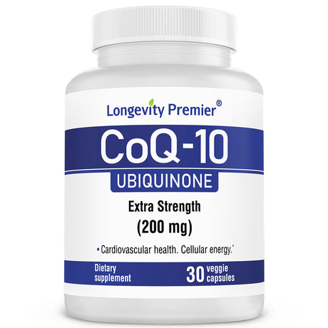 Longevity CoQ10 with better absorption for healthy heart & energy 200 mg. Extra strength. Natural supplementation of Coenzyme Q10.