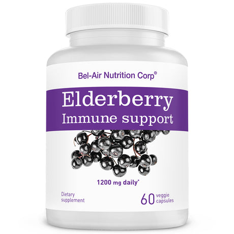 Elderberry: 1200mg daily max. Herbal supplement for immune support. Powerful antioxidants. Natural elderberries.