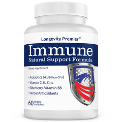 Longevity Immune Formula: Natural support for immune health & boosting immune with Vitamin C, E, Zinc, Elderberry, Echinacea, Turmeric and probiotics.