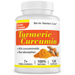 Turmeric Curcumin: 95% curcuminoids. Healthy joints and comfort. High potency with better absorption. 120 veggie caps.
