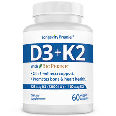Longevity Vitamin D3+K2 with BioPerine
