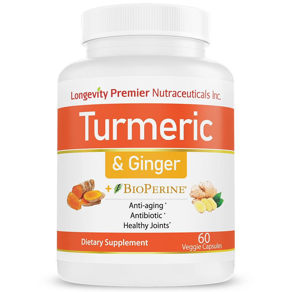Turmeric Curcumin with Ginger & Bioperine - Healthy Joints, anti-inflammatory, antioxidant and anti-aging - Longevity Premier Nutraceuticals Inc