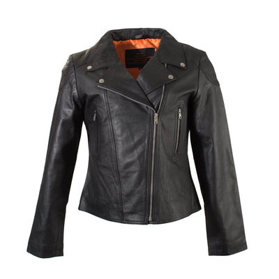 Ladies Black Leather Biker Jacket