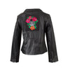 Jenny - Ladies Leather Biker Jacket with Skull Patch
