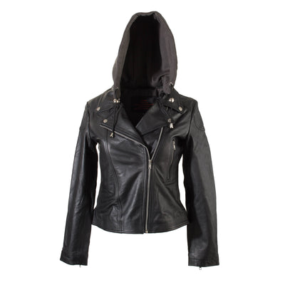 Ladies Black Leather Biker Jacket  with detachable fleece hood