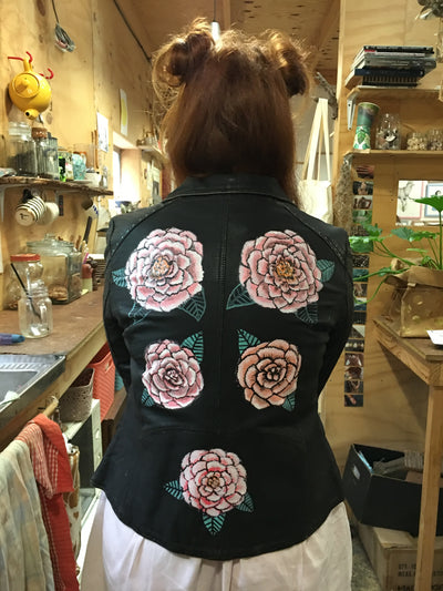 Hand Painted Designs by Artists Distressed Look Leather Jacket Flowers