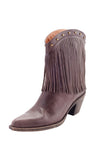 ladies brown leather cowboy boots with floral embroiery detail