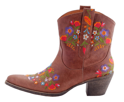 Deb - Brown Leather Ladies Cowboy Boots
