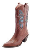 ladies brown leather cowboy boots with blue wing details