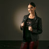 Wendy - Ladies Leather Biker Jacket with Limited Addition Embroidery