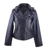 Chrissie - Distressed Hooded Leather Jacket