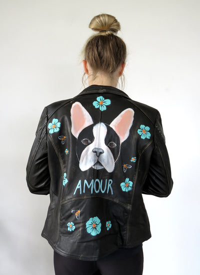 Hand Painted Designs by Artists Distressed Look Leather Jacket Frenchie