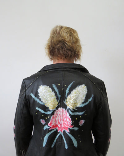 Hand Painted Designs by Artists Distressed Look Leather Jacket Native Flowers