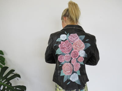 Hand Painted Designs by Artists Distressed Look Leather Jacket Roses