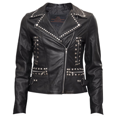 Sara - Ladies Leather Jacket with side hip buckle