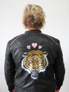 Hand Painted Designs by Artists Bomber Leather Jacket Roses Tiger
