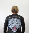 Hand Painted Designs by Artists Bomber Leather Jacket White Tiger
